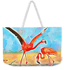 Caribbean Scenes - Trinidad's Scarlet Ibis/flamingo Weekender Tote Bag by Wayne Pascall