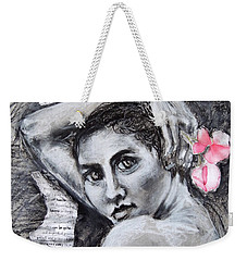 Weekender Tote Bag featuring the drawing Carried Away by Mary Schiros