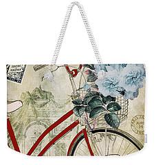 Carte Postale Vintage Bicycle Weekender Tote Bag by Mindy Sommers
