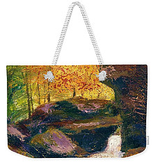 Weekender Tote Bag featuring the painting Carter Caves Kentucky by Gail Kirtz
