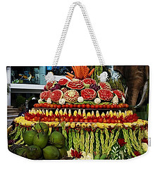 Weekender Tote Bag featuring the photograph Carved Watermelon, Surin Elephant by Mr Photojimsf