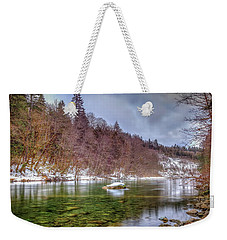 Weekender Tote Bag featuring the photograph Cascade River Rocks by Spencer McDonald