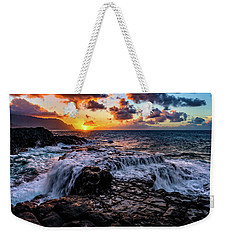 Cascading Water At Sunset Weekender Tote Bag