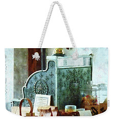 Weekender Tote Bag featuring the photograph Cash Register In General Store by Susan Savad