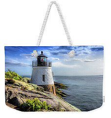 Weekender Tote Bag featuring the painting Castle Hill Lighthouse by Christopher Arndt