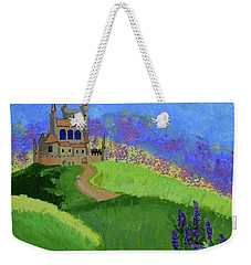 Weekender Tote Bag featuring the painting Castle In The Sky by Johanne Peale