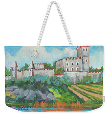 Weekender Tote Bag featuring the painting Castle On The Upper Rhine River by Diane McClary