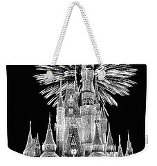 Castle With Fireworks In Black And White Walt Disney World Mp Weekender Tote Bag