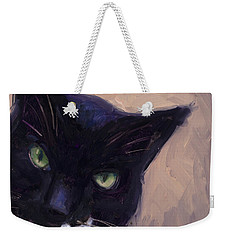 Weekender Tote Bag featuring the painting Cat A Tude by Billie Colson