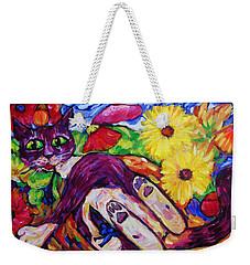 Cat Among Daisy Petals Weekender Tote Bag