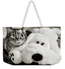 Weekender Tote Bag featuring the photograph Cat And Dog In B W by Andee Design