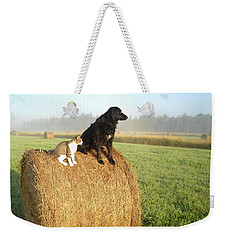 Cat And Dog On Hay Bale Weekender Tote Bag by Kent Lorentzen
