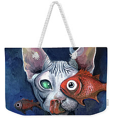 Cat And Fish Weekender Tote Bag