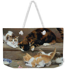 Cat And Kittens Chasing A Mouse   Weekender Tote Bag by Rosa Jameson