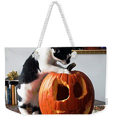 Cat And Pumpkin Weekender Tote Bag by Vicky Tarcau