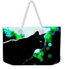 Cat Bathed In Green Light Weekender Tote Bag by Gina O'Brien