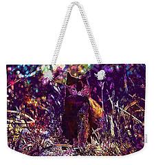 Weekender Tote Bag featuring the digital art Cat Black Sun Meadow  by PixBreak Art