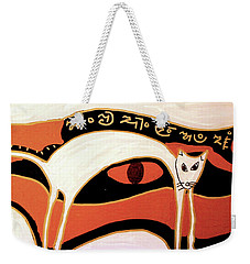 Weekender Tote Bag featuring the mixed media Cat by Clarity Artists