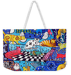 Cat Cocktail - Cat Art By Dora Hathazi Mendes Weekender Tote Bag