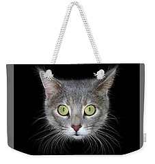 Cat Head On Black Background Weekender Tote Bag by James Larkin