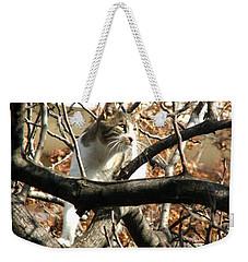 Cat Hunting Bird Weekender Tote Bag by Judi Saunders