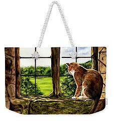 Cat In The Castle Window-close Up Weekender Tote Bag