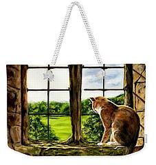 Cat In The Castle Window Weekender Tote Bag