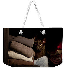 Weekender Tote Bag featuring the photograph Cat In The Closet by Laura Melis