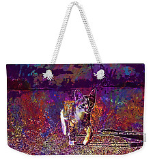Weekender Tote Bag featuring the digital art Cat Kitten Cat Baby Mackerel  by PixBreak Art