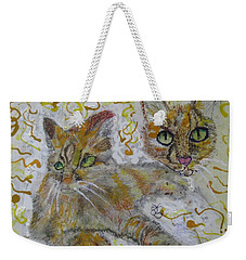 Weekender Tote Bag featuring the painting Cat Named Phoenicia by AJ Brown