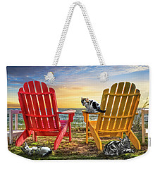 Weekender Tote Bag featuring the photograph Cat Nap At The Beach by Debra and Dave Vanderlaan