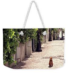Cat On Cobblestone Weekender Tote Bag