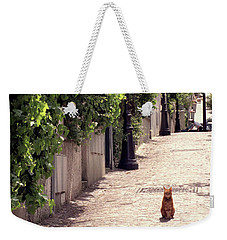 Cat On Cobblestone Weekender Tote Bag