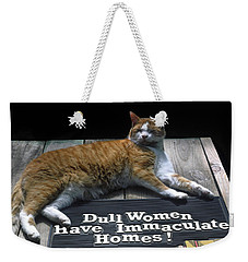 Weekender Tote Bag featuring the photograph Cat On Dull Women Mat by Sally Weigand