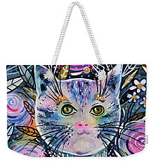 Weekender Tote Bag featuring the painting Cat On Flower Bed by Zaira Dzhaubaeva