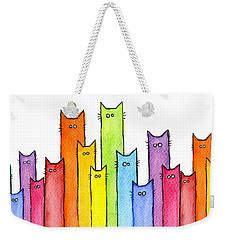 Cat Rainbow Watercolor Pattern Weekender Tote Bag