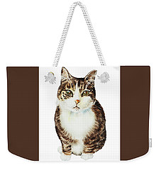 Weekender Tote Bag featuring the painting Cat Watercolor Illustration by Irina Sztukowski