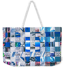 Weekender Tote Bag featuring the mixed media Catalogue Blues by Jan Bickerton