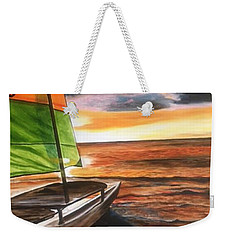 Catamaran At Sunset Weekender Tote Bag