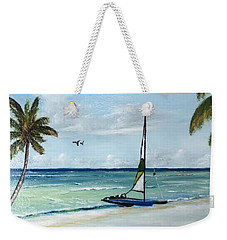 Catamaran On The Beach Weekender Tote Bag