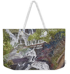 Weekender Tote Bag featuring the painting Catawba Falls - Working Notes by Joel Deutsch