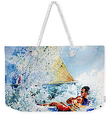 Weekender Tote Bag featuring the painting Catch The Wind by Hanne Lore Koehler