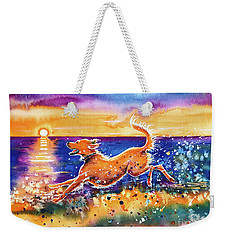 Weekender Tote Bag featuring the painting Catching The Sun by Zaira Dzhaubaeva