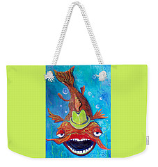 Weekender Tote Bag featuring the painting Catfish Clyde by Vickie Scarlett-Fisher