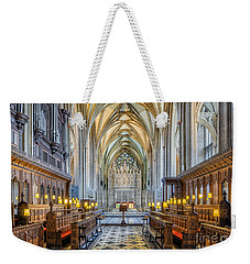 Weekender Tote Bag featuring the photograph Cathedral Aisle by Adrian Evans