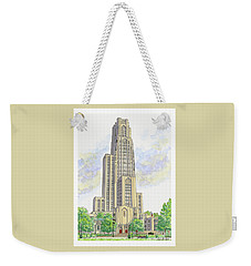 Weekender Tote Bag featuring the painting Cathedral Of Learning by Val Miller