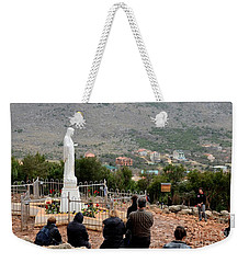 Catholic Pilgrim Worshipers Pray To Virgin Mary Medjugorje Bosnia Herzegovina Weekender Tote Bag
