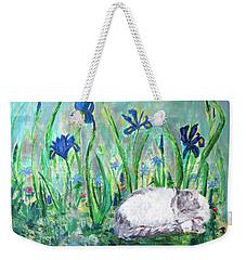Catnap In The Garden Weekender Tote Bag