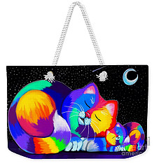 Weekender Tote Bag featuring the drawing Catnaps For Two by Nick Gustafson