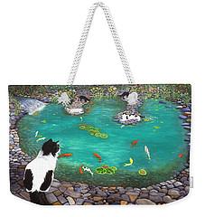 Weekender Tote Bag featuring the painting Cats And Koi by Karen Zuk Rosenblatt